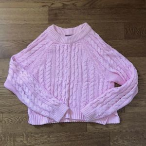 XS H&M Cable Knit Pink Cropped Sweater